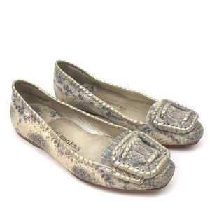 Jack Rogers snake print leather buckle flats gray